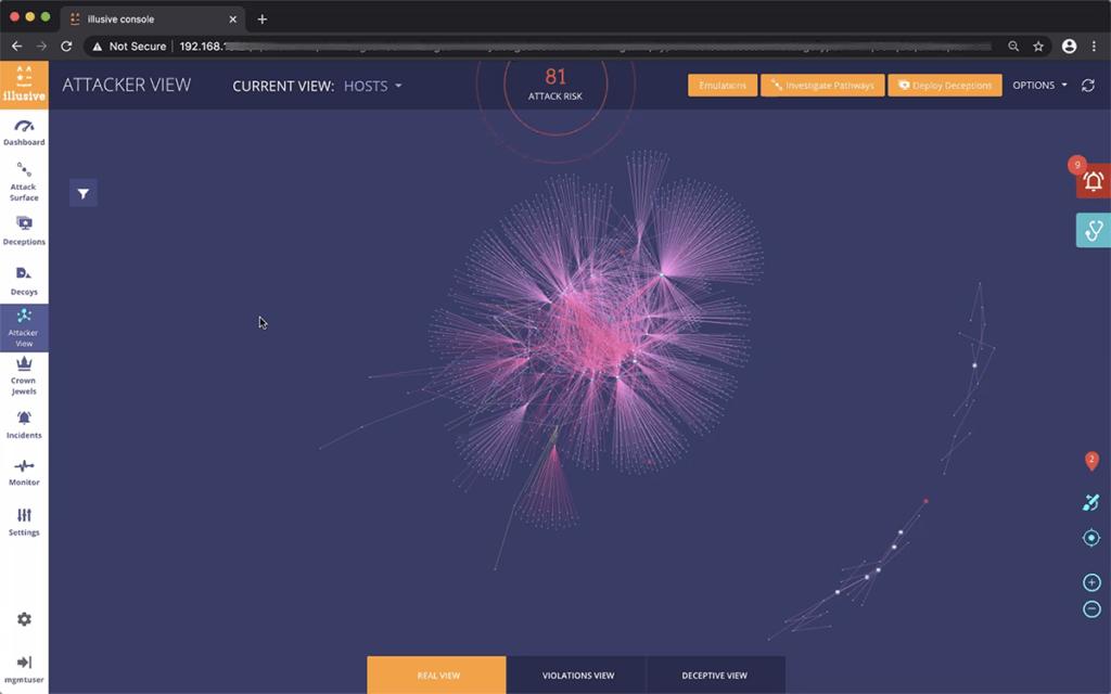 Illusive Networks Attacker View. Обзорный вид на потенциальные траектории злоумышленника в сети