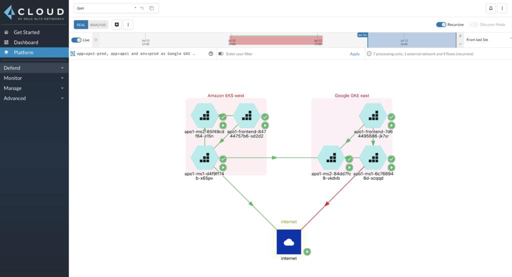 Интерфейс Prisma Cloud для микросегментации полезных нагрузок