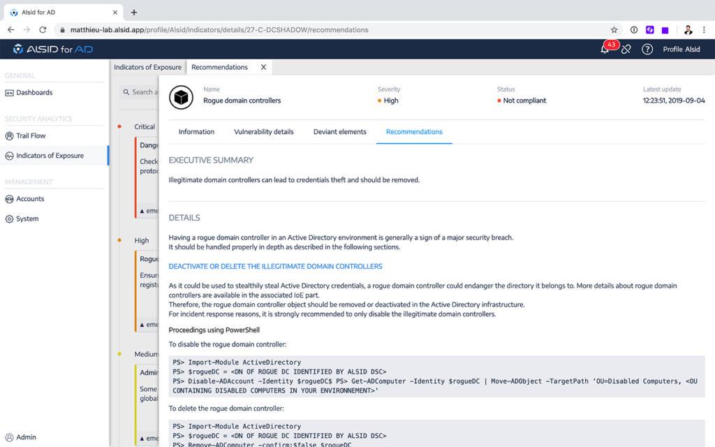 Пример рекомендаций Alsid по повышению защищенности Active Directory